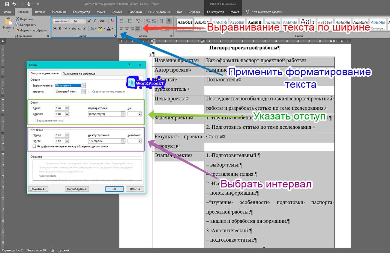Оформление текста паспорта проекта сделанного в таблице