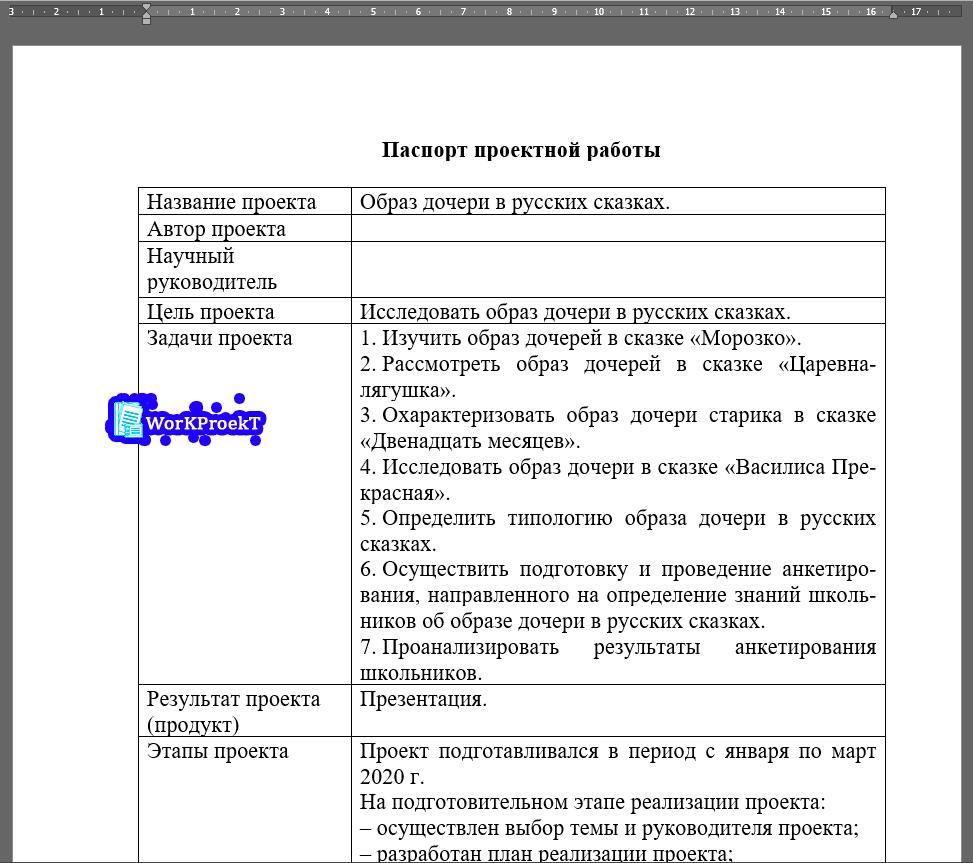 Оформление паспорта проектной работы в таблице