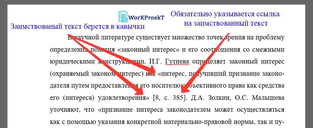Пример оформления цитирования текста в проектной работе