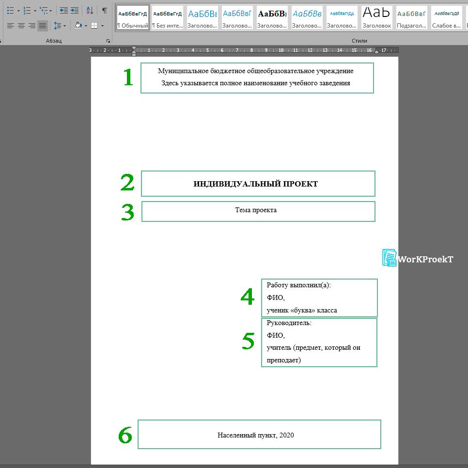 Стандартные элементы титульного листа проектной работы