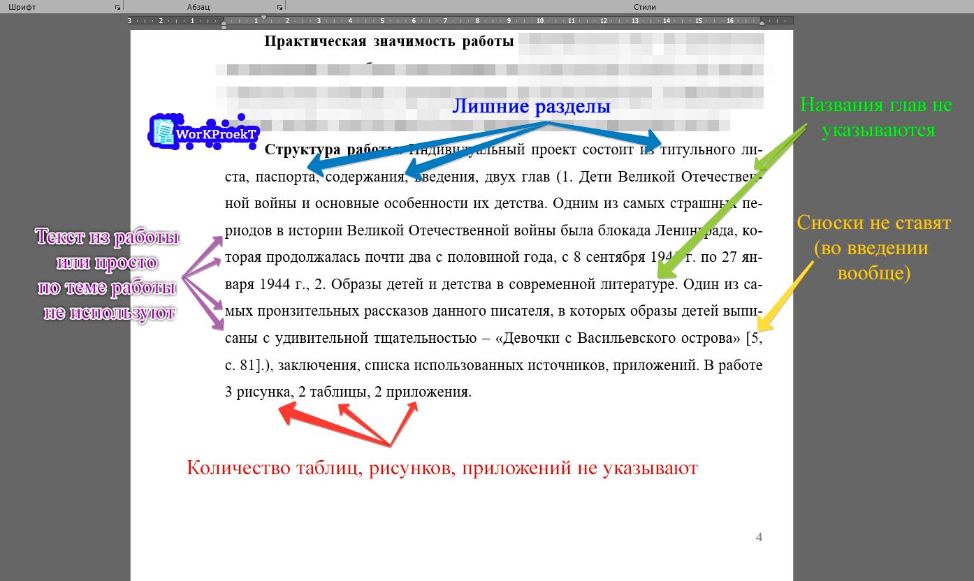 Ошибки при написании структуры проекта во введении