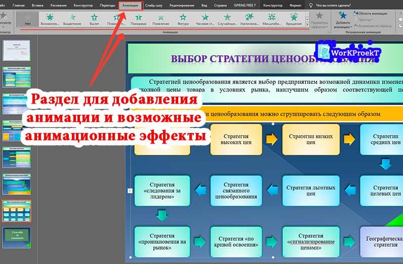 Как добавить анимацию на слайды презентации