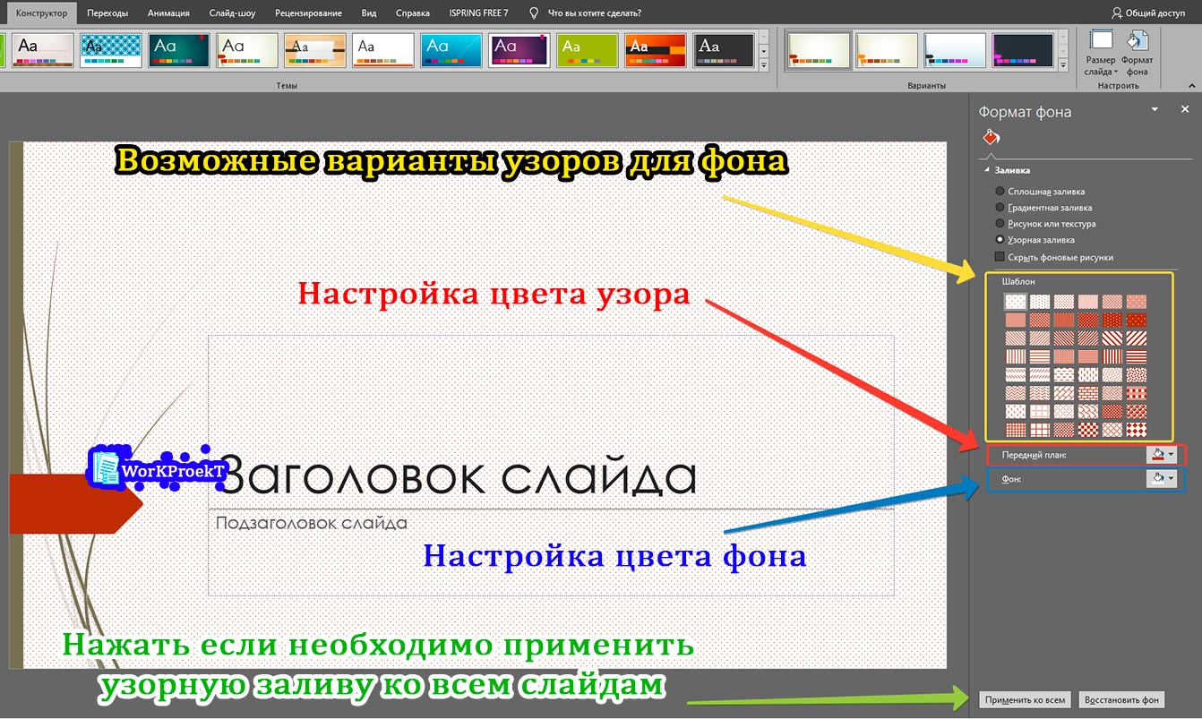 Настройка узорной заливки, как фона презентации